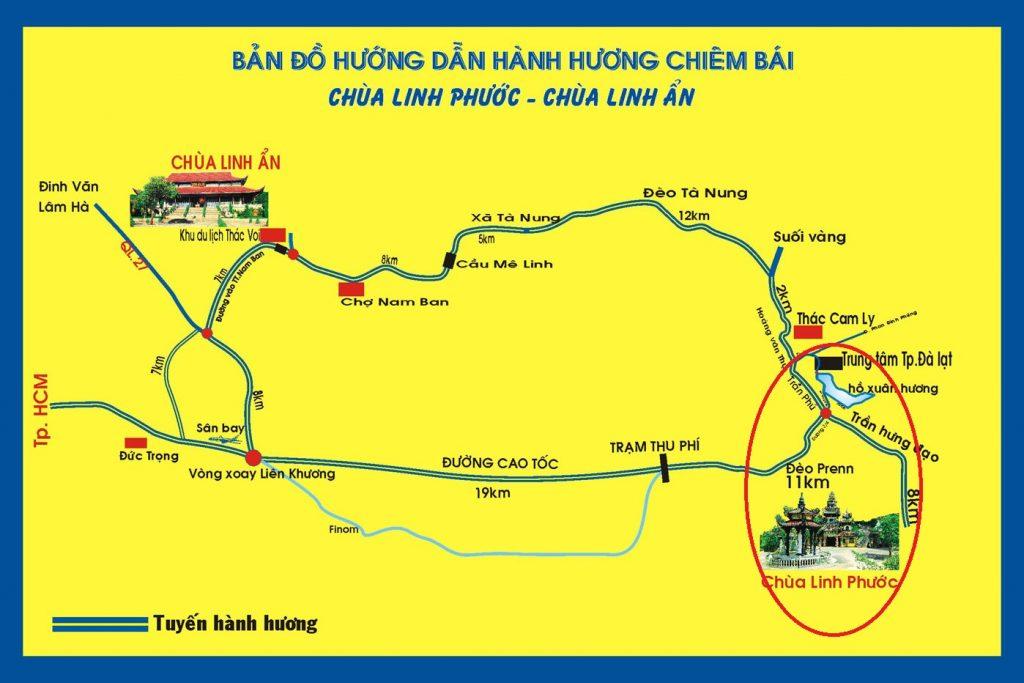 Bản đồ chùa Ve Chai Đà Lạt