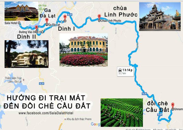 Hướng dẫn đường đi chùa Linh Phước Đà Lạt